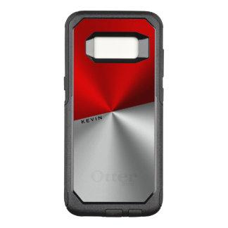 Capa OtterBox Commuter Para Samsung Galaxy S8 Olhar metálico vermelho & de prata geométrico