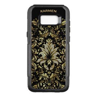 Capa OtterBox Commuter Para Samsung Galaxy S8+ Ouro & fundo floral do preto do laço do brilho do