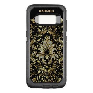 Capa OtterBox Commuter Para Samsung Galaxy S8 Ouro & laço floral do brilho do branco no fundo