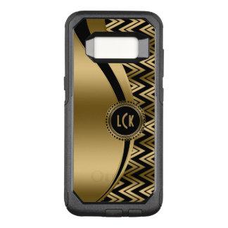Capa OtterBox Commuter Para Samsung Galaxy S8 Ouro moderno Chevron & listras no fundo preto