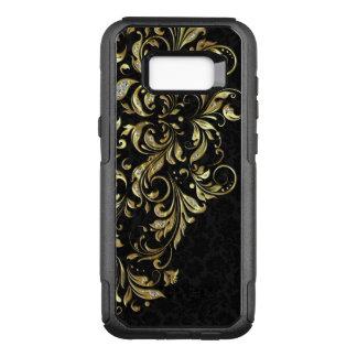 Capa OtterBox Commuter Para Samsung Galaxy S8+ Ouro preto elegante & laço floral do brilho do