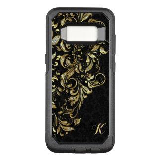 Capa OtterBox Commuter Para Samsung Galaxy S8 Ouro preto elegante & laço floral do brilho do