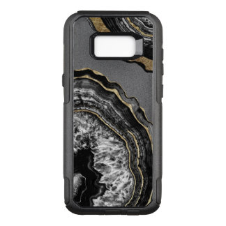Capa OtterBox Commuter Para Samsung Galaxy S8+ Pedra preto e branco de Geode da ágata do ouro