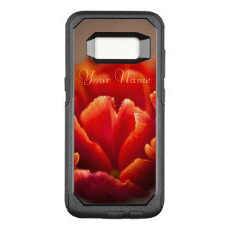 Capa OtterBox Commuter Para Samsung Galaxy S8 Pétalas vermelhas bonito da tulipa. Adicione seu