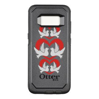 Capa OtterBox Commuter Para Samsung Galaxy S8 Pombas de paz da ilustração com coração
