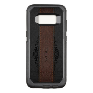 Capa OtterBox Commuter Para Samsung Galaxy S8 Preto & monograma de couro da textura de Brown