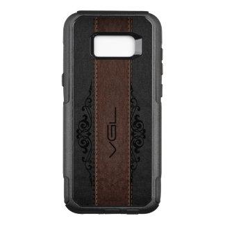 Capa OtterBox Commuter Para Samsung Galaxy S8+ Preto & monograma de couro das listras de Brown