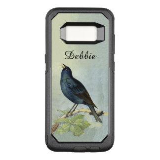 Capa OtterBox Commuter Para Samsung Galaxy S8 Ramo preto do pássaro do vintage que pendura