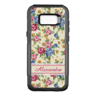 Capa OtterBox Commuter Para Samsung Galaxy S8+ Rosa romântico Pastel da flor, vermelho, nome azul