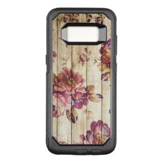 Capa OtterBox Commuter Para Samsung Galaxy S8 Rosas cor-de-rosa do vintage na caixa de madeira