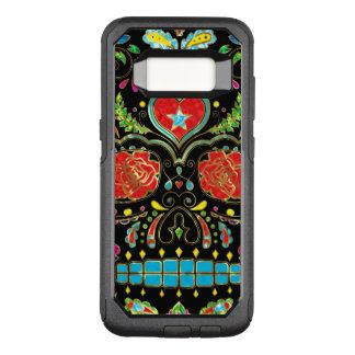 Capa OtterBox Commuter Para Samsung Galaxy S8 Rosas vermelhas & crânio G1 do açúcar das flores