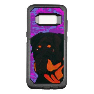 Capa OtterBox Commuter Para Samsung Galaxy S8 Rottweiler com o Camo cor-de-rosa e azul
