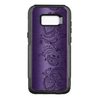 Capa OtterBox Commuter Para Samsung Galaxy S8+ Roxo metálico com laço roxo de Paisley