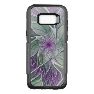 Capa OtterBox Commuter Para Samsung Galaxy S8+ Sonho da flor, arte verde roxa abstrata do Fractal