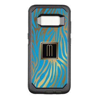 Capa OtterBox Commuter Para Samsung Galaxy S8 Teste padrão azul da listra do tigre do monograma