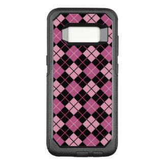Capa OtterBox Commuter Para Samsung Galaxy S8 Teste padrão de Argyle no preto e no rosa