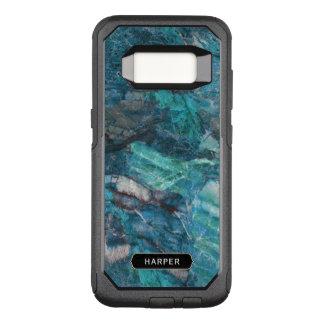 Capa OtterBox Commuter Para Samsung Galaxy S8 Teste padrão de mármore azul exótico com seu nome
