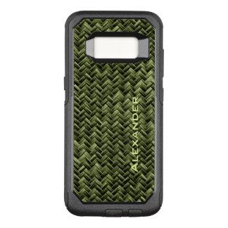 Capa OtterBox Commuter Para Samsung Galaxy S8 : Teste padrão de Weave de cesta verde do falso do