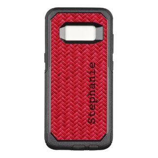 Capa OtterBox Commuter Para Samsung Galaxy S8 : Teste padrão de Weave de cesta vermelho do falso