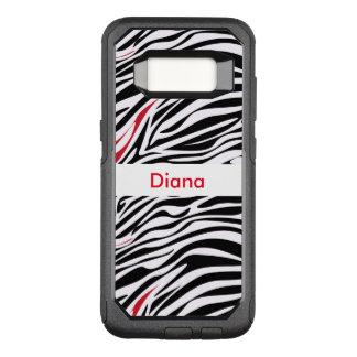 Capa OtterBox Commuter Para Samsung Galaxy S8 Teste padrão do animal do monograma da zebra