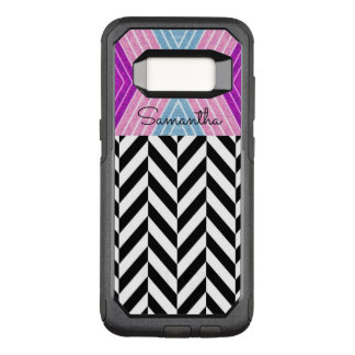 Capa OtterBox Commuter Para Samsung Galaxy S8 Teste padrão preto & branco de Herringbone com