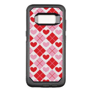 Capa OtterBox Commuter Para Samsung Galaxy S8 Teste padrão vermelho e cor-de-rosa do coração de