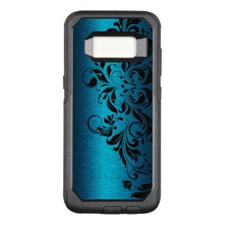 Capa OtterBox Commuter Para Samsung Galaxy S8 Textura azul metálica elegante & laço floral preto