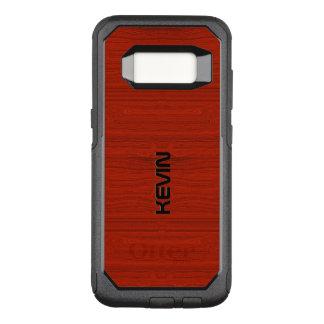 Capa OtterBox Commuter Para Samsung Galaxy S8 Textura de madeira vermelha simples