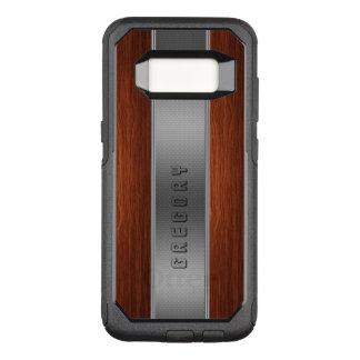 Capa OtterBox Commuter Para Samsung Galaxy S8 Textura de prata de madeira escura da listra de