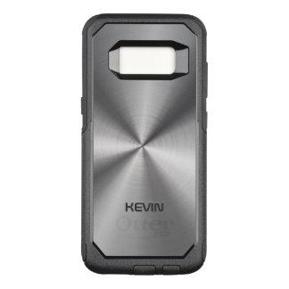 Capa OtterBox Commuter Para Samsung Galaxy S8 Textura metálica de aço inoxidável simples