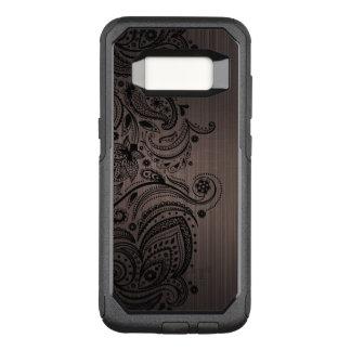 Capa OtterBox Commuter Para Samsung Galaxy S8 Textura metálica de Brown & laço preto de Paisley