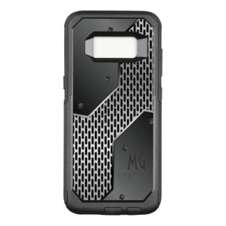 Capa OtterBox Commuter Para Samsung Galaxy S8 Textura metálica preta e cinzenta geométrica