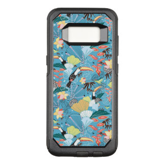 Capa OtterBox Commuter Para Samsung Galaxy S8 Textura tropical com Toucans e colibris