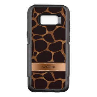 Capa OtterBox Commuter Para Samsung Galaxy S8+ Tons de cobre metálicos legal & leopardo de Brown