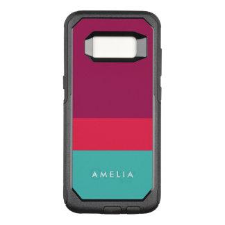 Capa OtterBox Commuter Para Samsung Galaxy S8 Turquesa cor-de-rosa roxa do bloco conhecido da