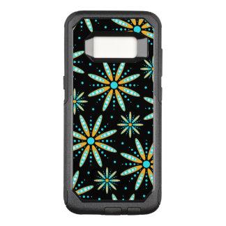 Capa OtterBox Commuter Para Samsung Galaxy S8 turquesa e laranja em floral retro preto