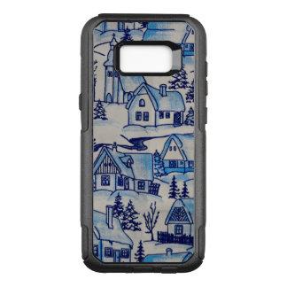 Capa OtterBox Commuter Para Samsung Galaxy S8+ Vila azul do feriado do Natal do vintage