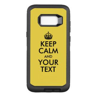 Capa OtterBox Defender Para Samsung Galaxy S8+ Amarelo e preto mantenha a calma e o seu texto