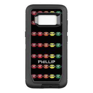 Capa OtterBox Defender Para Samsung Galaxy S8 Arco-íris esperto do batom da boca com nome no