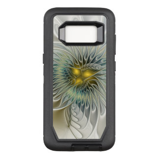 Capa OtterBox Defender Para Samsung Galaxy S8 Arte de prata dourada do Fractal do abstrato da