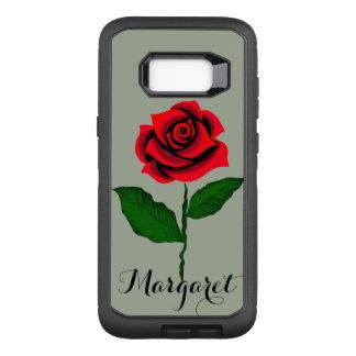 Capa OtterBox Defender Para Samsung Galaxy S8+ beleza do monograma da rosa vermelha em virtude da