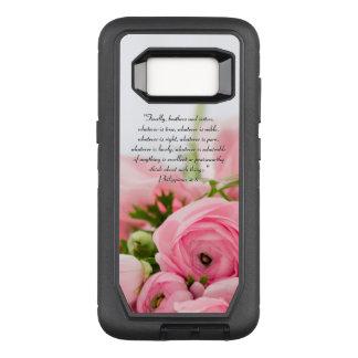 Capa OtterBox Defender Para Samsung Galaxy S8 Buquê do rosa Pastel do verso da bíblia das flores