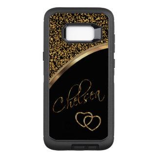 Capa OtterBox Defender Para Samsung Galaxy S8+ Confetes e preto do ouro com nome do roteiro