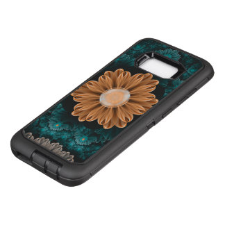 Capa OtterBox Defender Para Samsung Galaxy S8+ Crisântemo bonito do paraíso da laranja & do Aqua