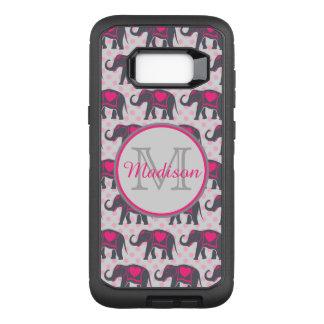 Capa OtterBox Defender Para Samsung Galaxy S8+ Elefantes cor-de-rosa quentes cinzentos em