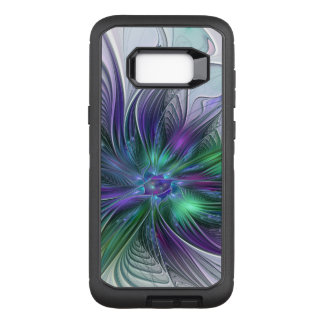 Capa OtterBox Defender Para Samsung Galaxy S8+ Fractal moderno da arte abstracta da flor verde