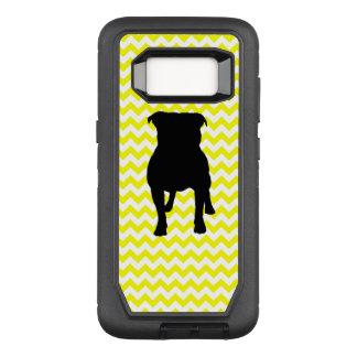 Capa OtterBox Defender Para Samsung Galaxy S8 Limão - Chevron amarelo com silhueta do Pug