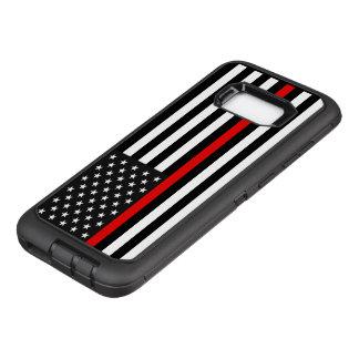 Capa OtterBox Defender Para Samsung Galaxy S8+ Linha vermelha fina bandeira americana