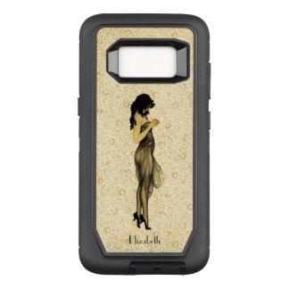 Capa OtterBox Defender Para Samsung Galaxy S8 Menina retro do vintage bonito com Apple floral