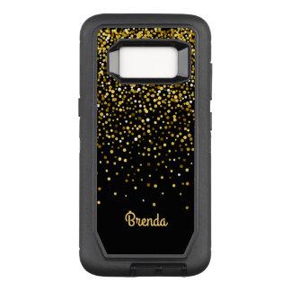 Capa OtterBox Defender Para Samsung Galaxy S8 Monograma preto do costume dos confetes do ouro
